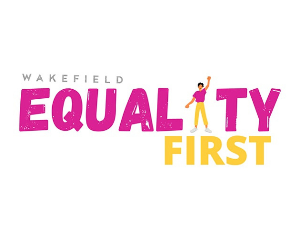 """""""Equality First"""" text in pink & orange. The """"I"""" in """"Equality"""" is a person wearing pink and yellow, raising their hand"""