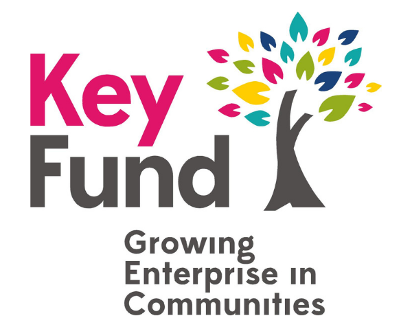 'Key Fund: Growing Enterprise in Communities' with an illustration of a tree which has multicoloured leaves