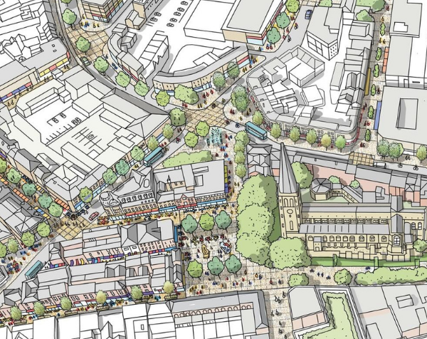 An illustration of the aerial view of Wakefield City centre