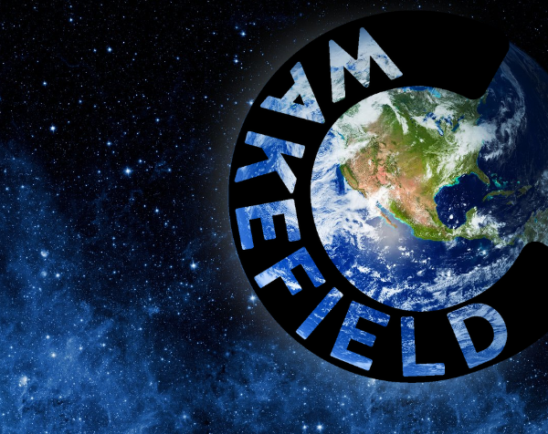 A picture of the Earth from space, surrounded by the Creative Wakefield logo